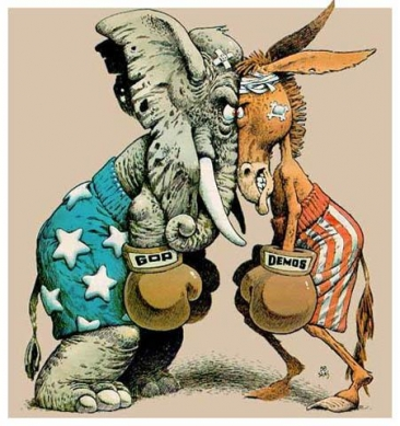 a cartoon depiction of the GOP party and democratic party facing off in a boxing match