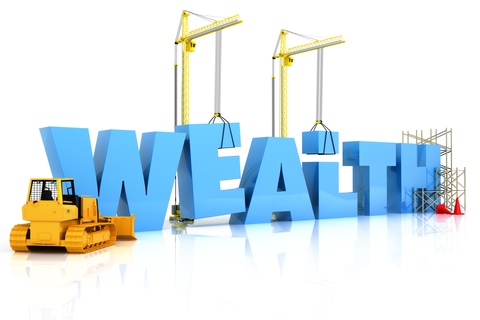 a bulldozer and crane moving around block letters to spell the word wealth